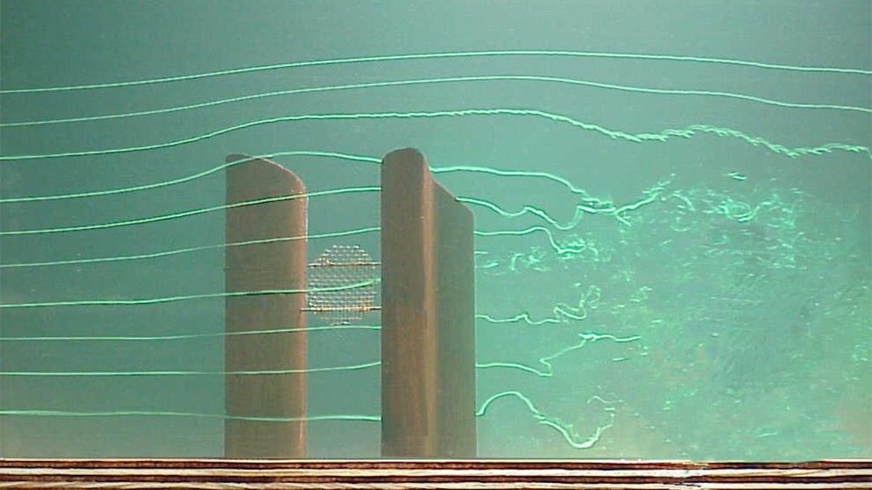 Momentaufnahme des Modells im Windkanal